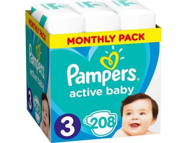 Pampers Πάνες Active Baby (208τεμ) No3 (5-9Kg)