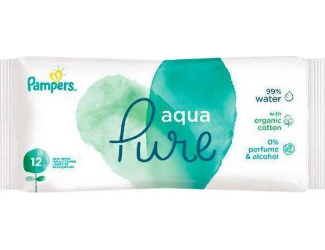 Pampers Aqua Pure Μωρομάντηλα Travel Size 12τεμ