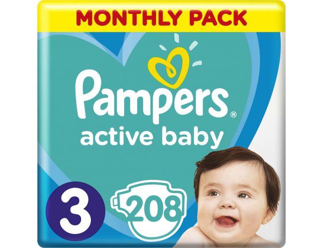 Pampers Πάνες Active Baby (208τεμ) No3 (6-10Kg)
