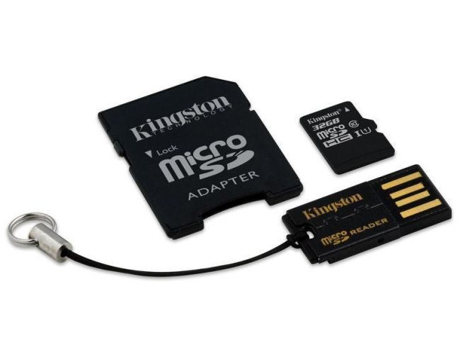 Kingston Micro SDHC 32GB Class 10 + 2 Adapters SD & USB MBLY10G2/32GB