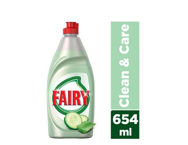 Fairy Clean and Care Αγγούρι 654 ml Υγρό πιάτων για πλύσιμο στο χέρι 8001090479303