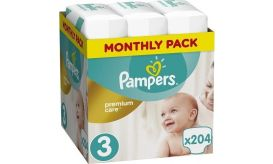 Pampers Πάνες Premium Care (204τεμ) No3 (5-9kg)