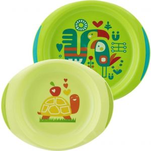 Chicco Baby's Dish Set 12m+ (16002-20),σε χρώμα ΠΡΑΣΙΝΟ, 2 τεμάχια