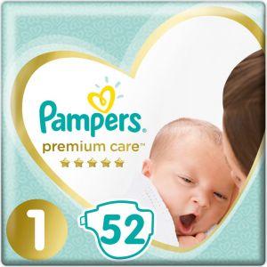 Pampers Πάνες Premium Care Newborn (52τεμ) No1 (2-5kg)