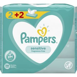 Pampers Sensitive Μωρομάντηλα 208τεμ (4x52τεμ)