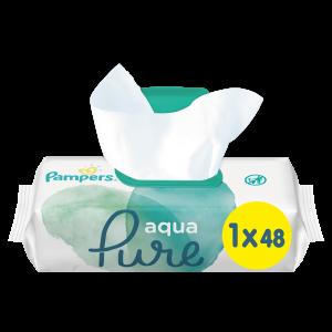 Pampers Aqua Pure Μωρομάντηλα 48τμχ 1+1 Δώρο