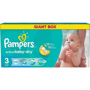 Pampers Πάνες Active Baby Dry Giant Box (108τεμ) No3 (4-9Kg)