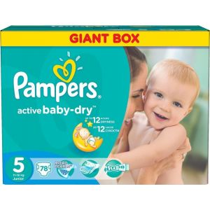 Pampers Πάνες Active Baby Dry (78τεμ) No5 (11-18Kg)