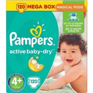 Pampers Πάνες Active Baby Dry (120τεμ) No4+ (9-16kg)