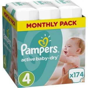 Pampers Πάνες Active Baby Dry (174τεμ) No4 (8-14kg)