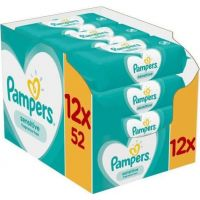 Pampers Sensitive Monthly Βοx Μωρομάντηλα 624τεμ (12x52τεμ)