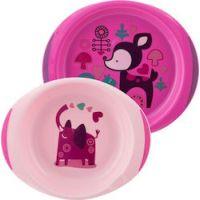 Chicco Baby's Dish Set 12m+ (16002-10),σε χρώμα ΡΟΖ, 2 τεμάχια