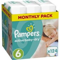 Pampers Πάνες Active Baby Dry (124τεμ) No6 (15+Kg)